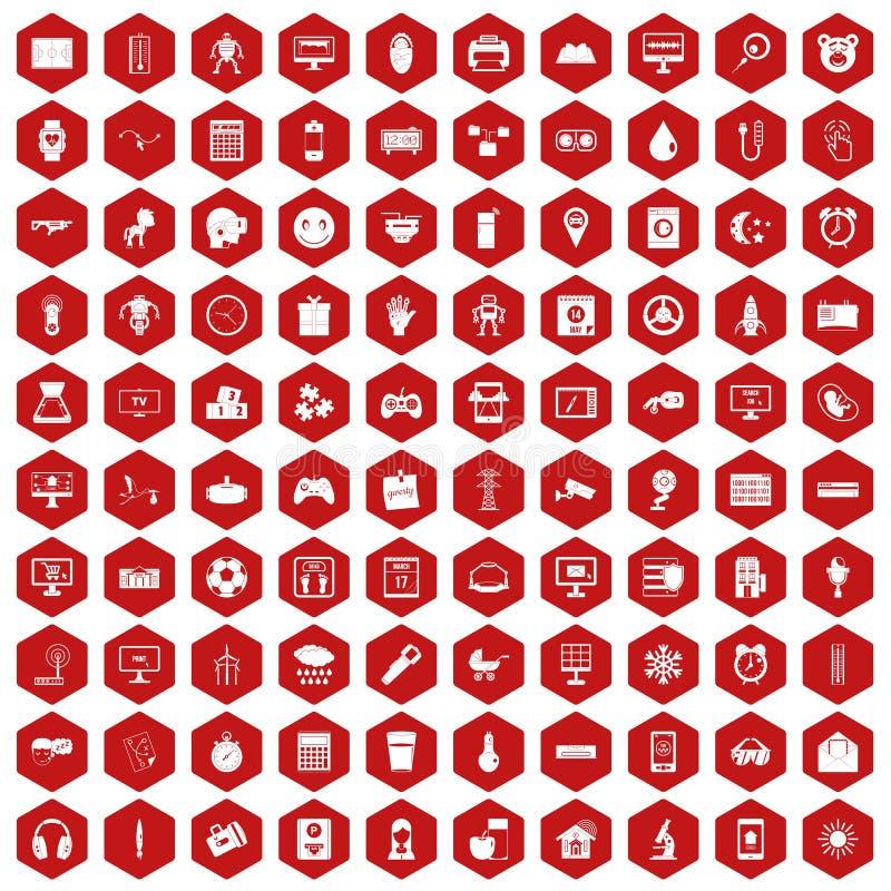 Hexagonrot mit 100 APP-Ikonen stock abbildung