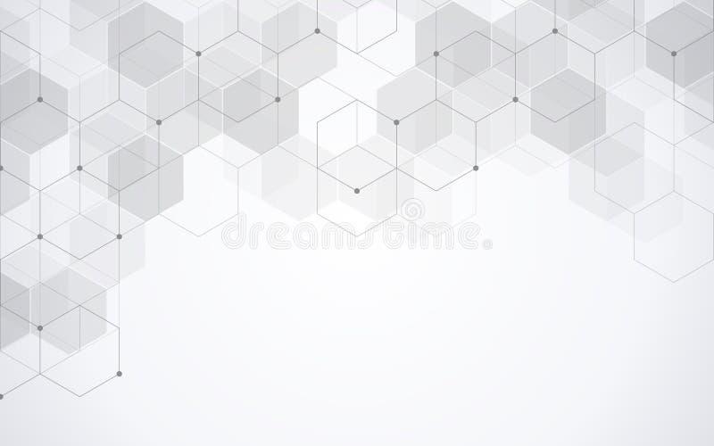 Hexagons σχέδιο Γεωμετρικό αφηρημένο υπόβαθρο με τα απλά εξαγωνικά στοιχεία Ιατρικό, σχέδιο τεχνολογίας ή επιστήμης απεικόνιση αποθεμάτων