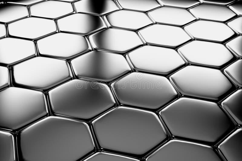 Hexagons χάλυβα που δαπεδώνουν τη διαγώνια άποψη ελεύθερη απεικόνιση δικαιώματος