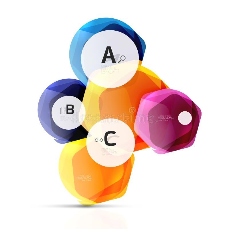 Hexagons χρώματος γυαλιού Στιλπνό πλαστικό hexagon σχέδιο με το κείμενο διανυσματική απεικόνιση