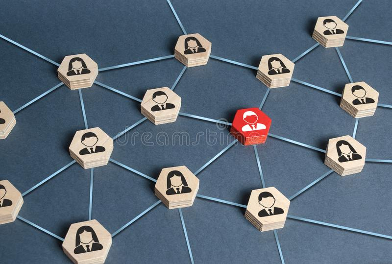 Hexagons with businessmen employees are connected with their leader by a business network. Communication and social networks stock images