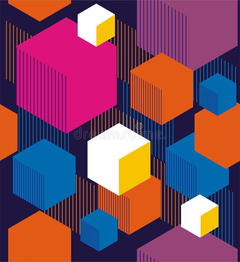 Hexagons and cubes. vector illustration
