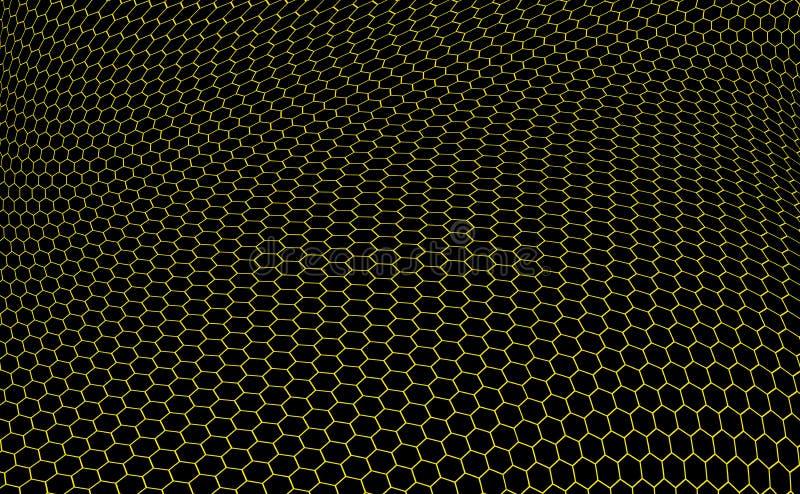 Hexagons graphene structure royalty free illustration