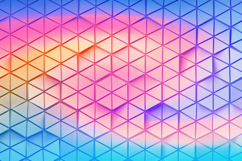 Hexagons made of triangles colored with vibrant gradient royalty free illustration