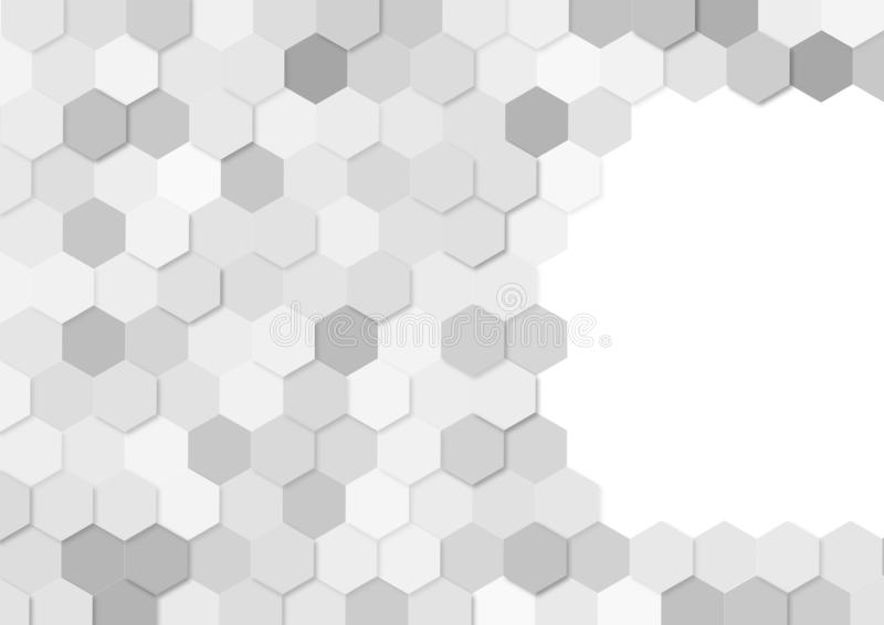 Seamless Grey Hexagons Pattern in White Background royalty free illustration