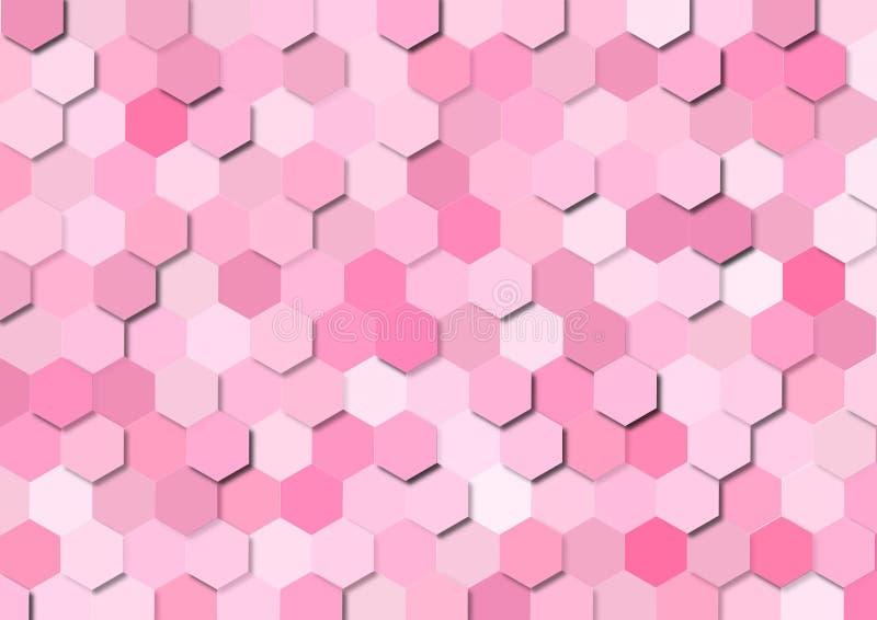 Seamless Pink Hexagons Geometric Pattern Background vector illustration