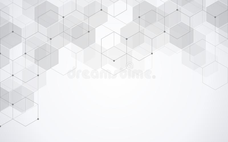 Hexagons pattern. Geometric abstract background with simple hexagonal elements. Medical, technology or science design. Hexagons pattern. Geometric abstract stock illustration