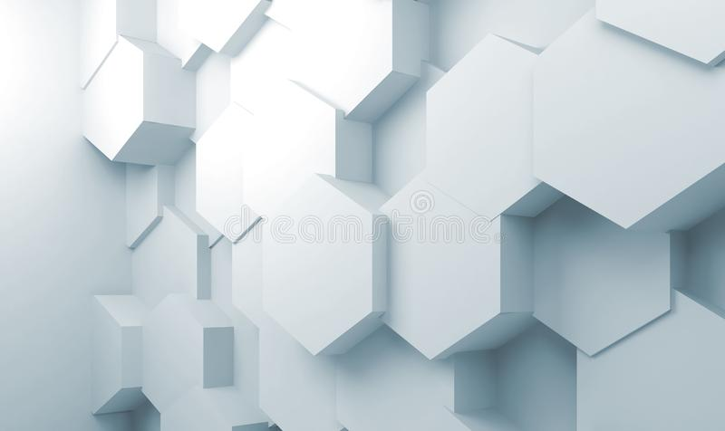 Hexagons pattern on wall, 3d illustration. Abstract interior background with extruded hexagons pattern on wall, 3d illustration royalty free stock image