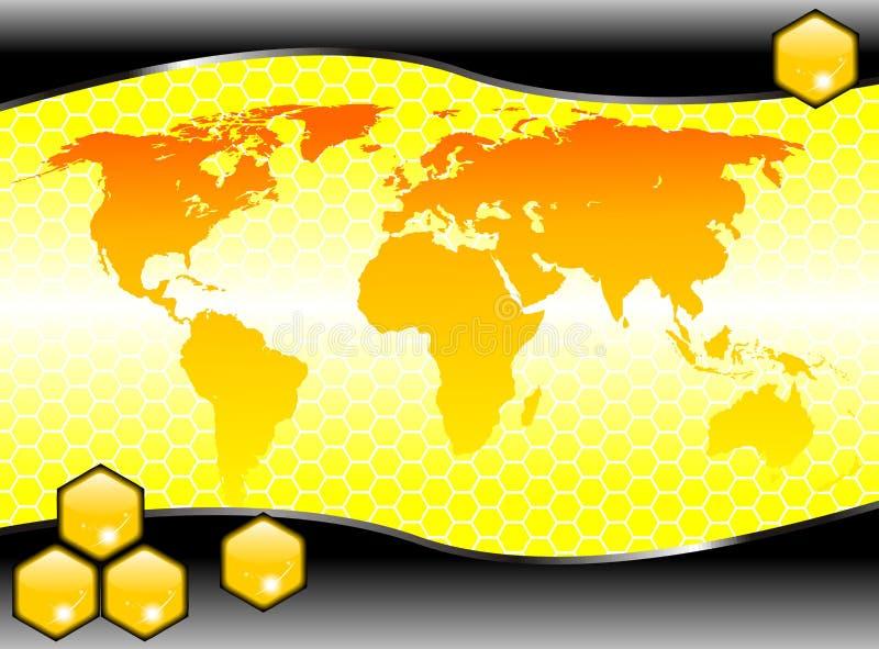 Hexagonweltseitenvektor lizenzfreie abbildung