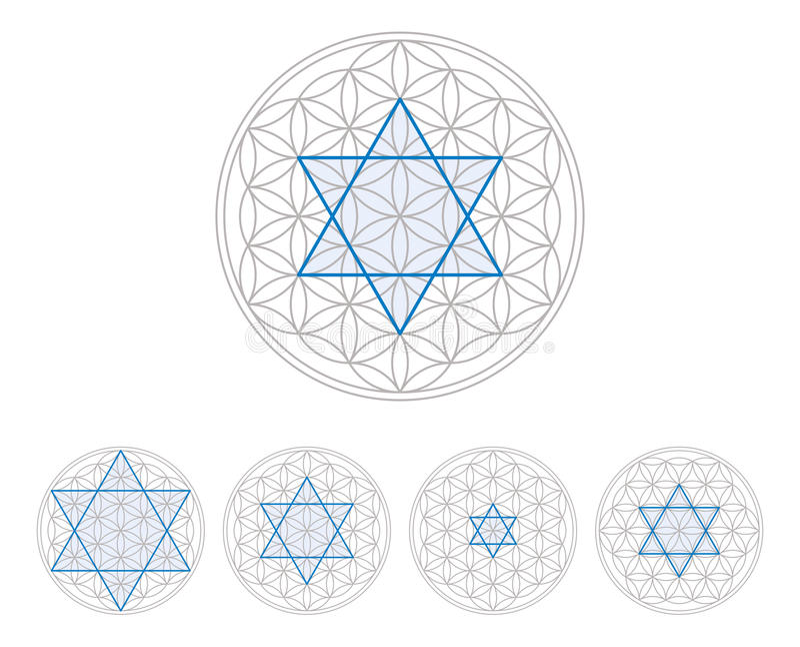 Hexagram bleu en fleur de la vie illustration stock