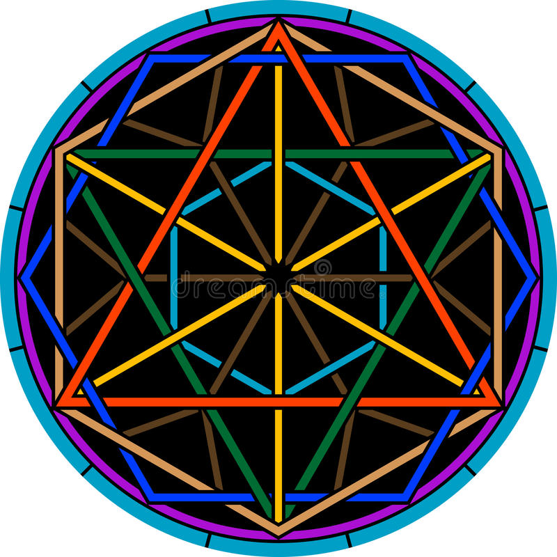 Hexagram de magie de couleur illustration de vecteur