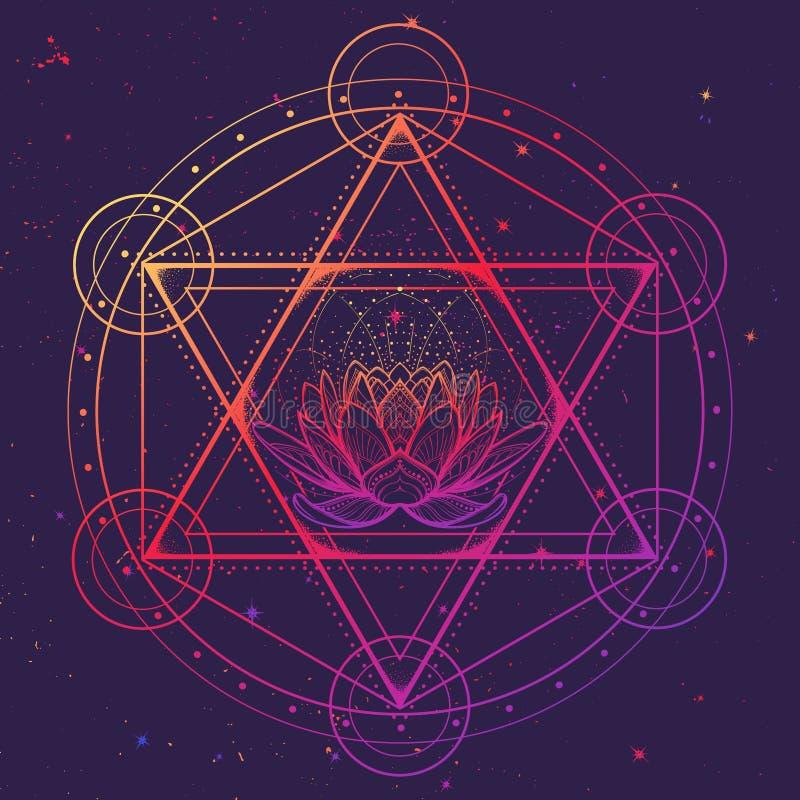 Hexagram med en lotusblomma som omringas med en cirkel Mångkulturellt symbol som föreställer anahatachakra i yoga och en stjärna  royaltyfri illustrationer