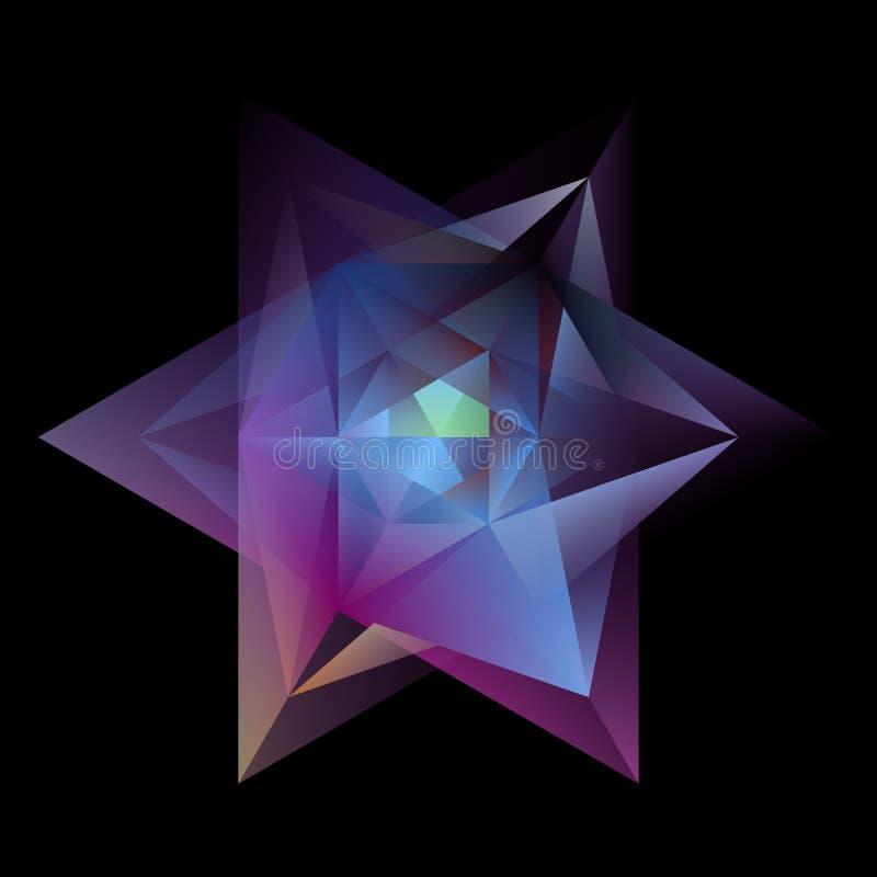 Hexagram multicolorido de incandesc?ncia do sum?rio isolado no preto ilustração royalty free