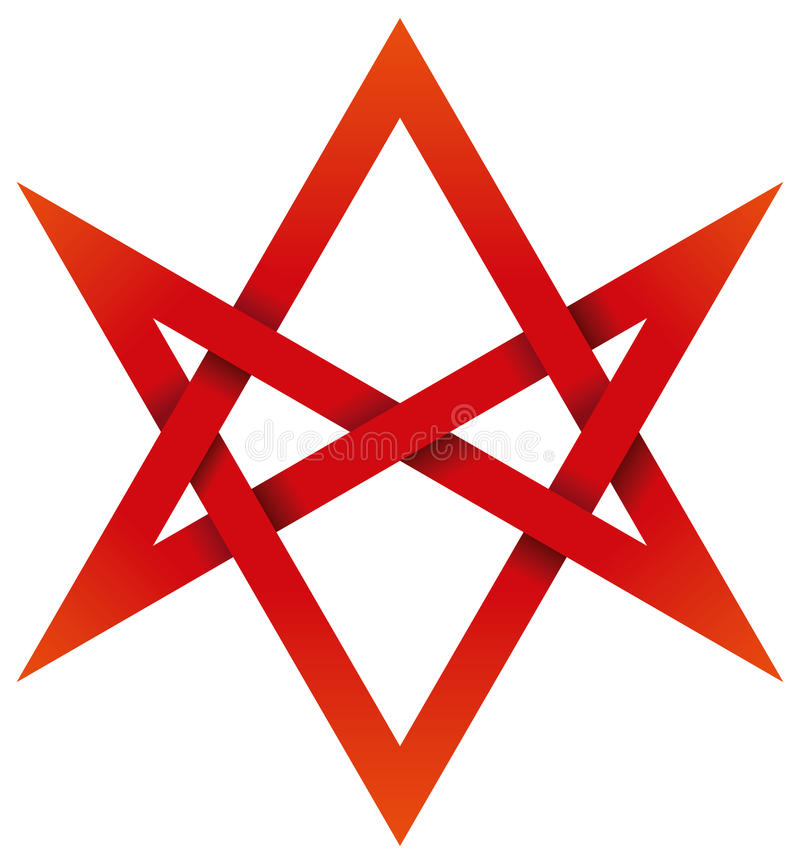 Hexagram unicursale rouge 3D illustration de vecteur