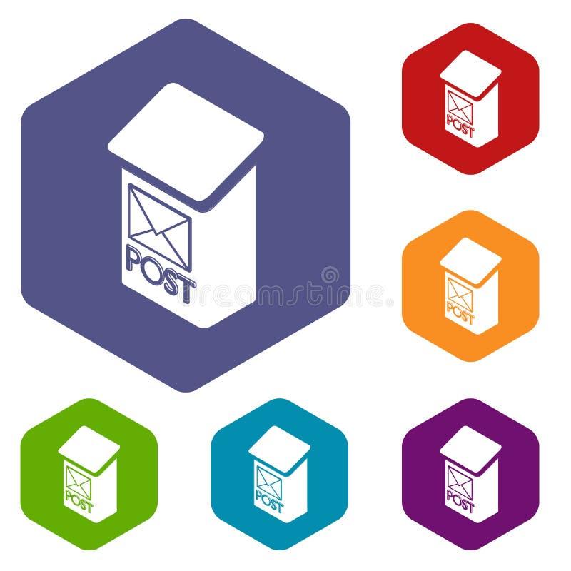 Hexahedron вектора значков коробки столба квартиры бесплатная иллюстрация