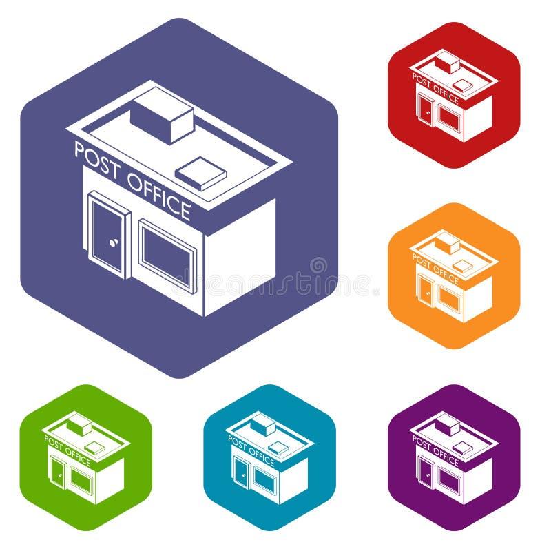 Hexahedron вектора значков почтового отделения бесплатная иллюстрация
