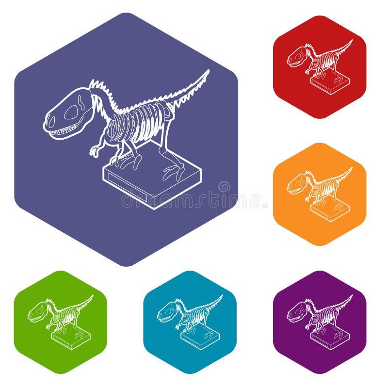 Hexahedron вектора значков динозавра каркасное иллюстрация штока