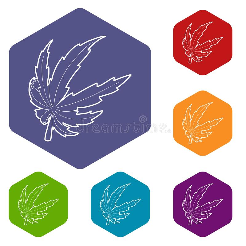 Hexahedron вектора значков лист марихуаны бесплатная иллюстрация