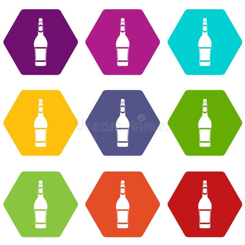 Hexahedron цвета значка бутылки дизайна установленное иллюстрация штока