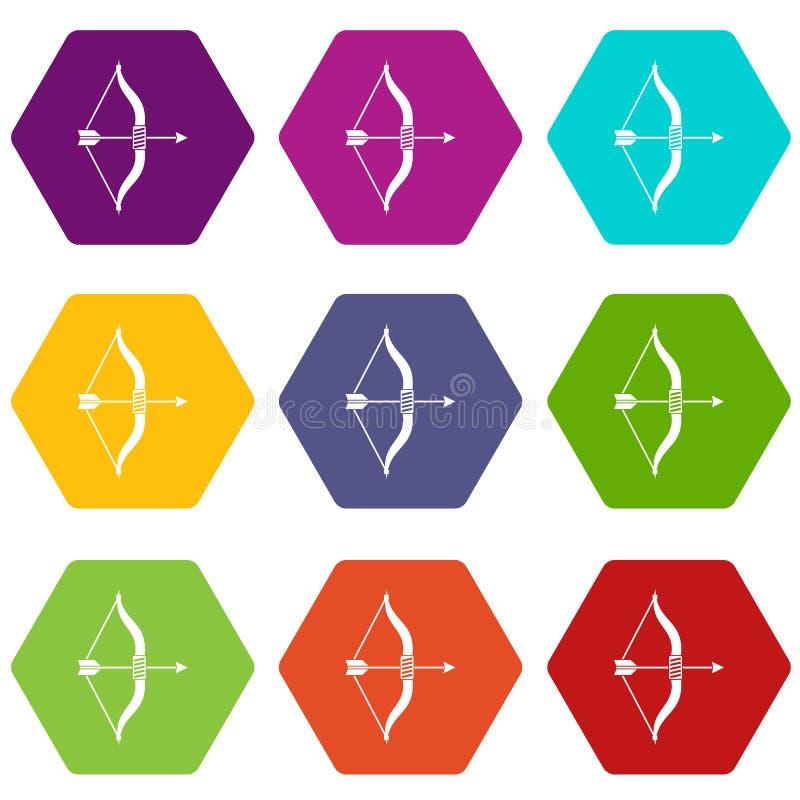 Hexahedron цвета значка лука и стрелы установленное бесплатная иллюстрация