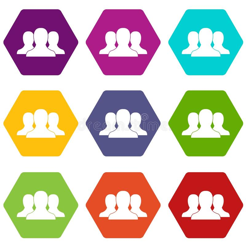 Hexahedron ajustado da cor do ícone de grupo de pessoas ilustração stock