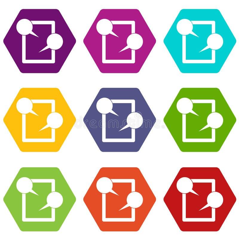 Hexahedron ajustado de conversa da cor do ícone da tabuleta ilustração do vetor