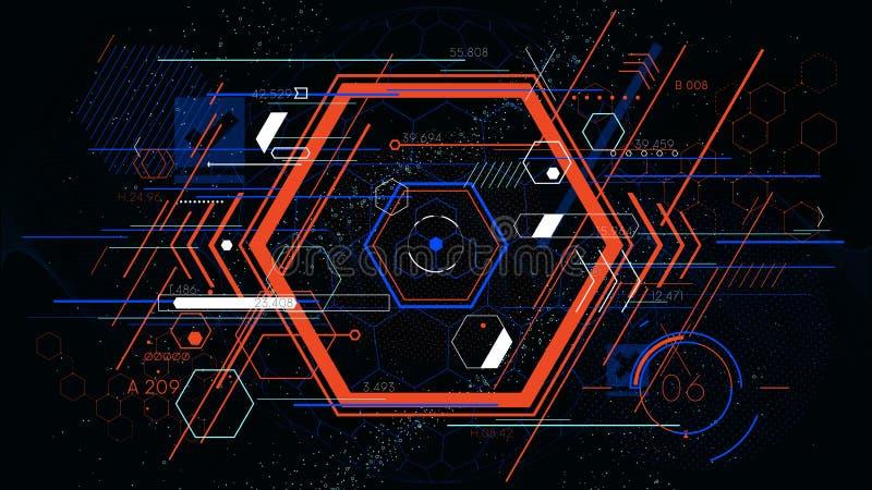 Hexahedron colorido abstrato futurista da tecnologia, fundos geométricos do vetor do hud ilustração royalty free