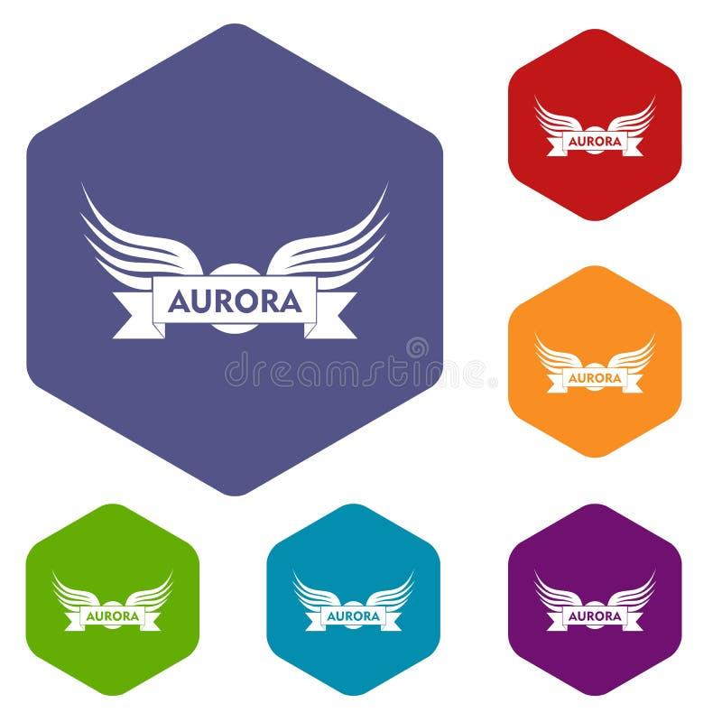 Hexahedron del vector de los iconos del ala de la aurora stock de ilustración
