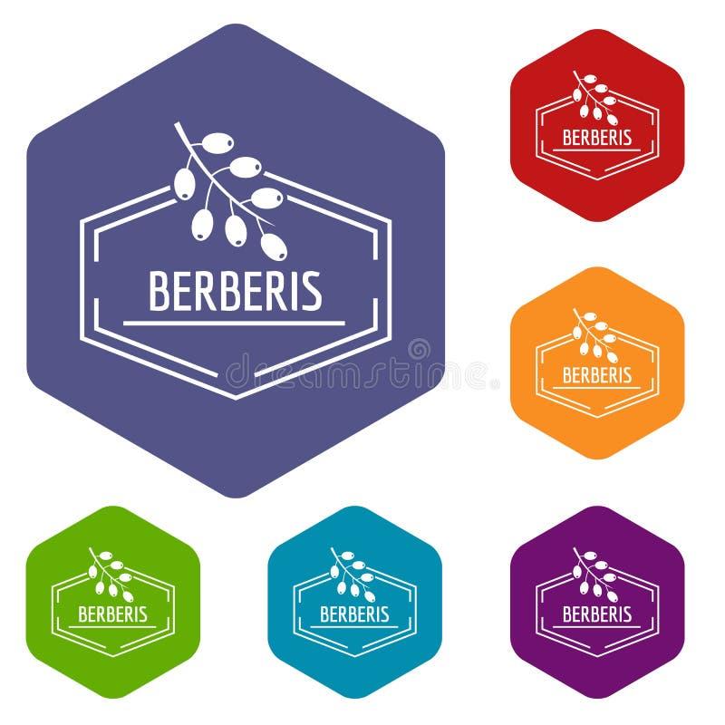 Hexahedron del vector de los iconos del Berberis ilustración del vector