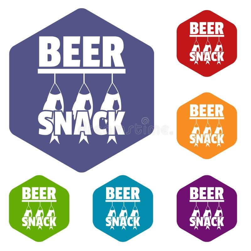 Hexahedron del vector de los iconos del bocado de la cerveza stock de ilustración