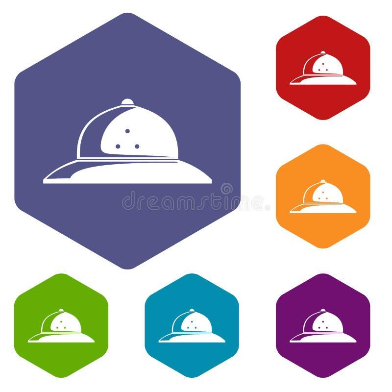 Hexahedron del vector de los iconos del casco del corcho stock de ilustración