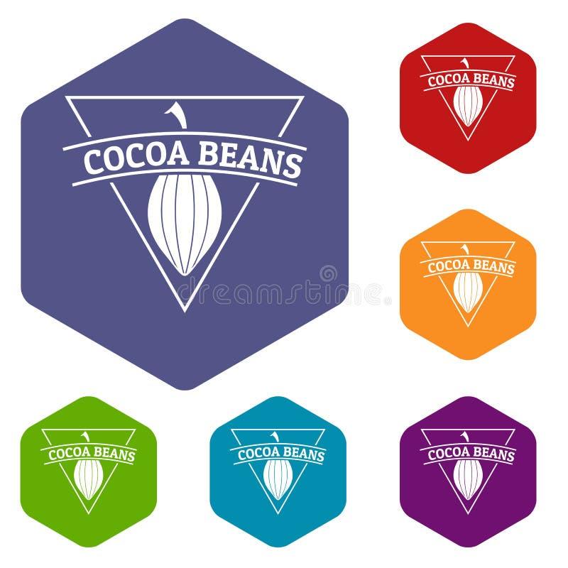 Hexahedron del vector de los iconos de los granos de cacao libre illustration