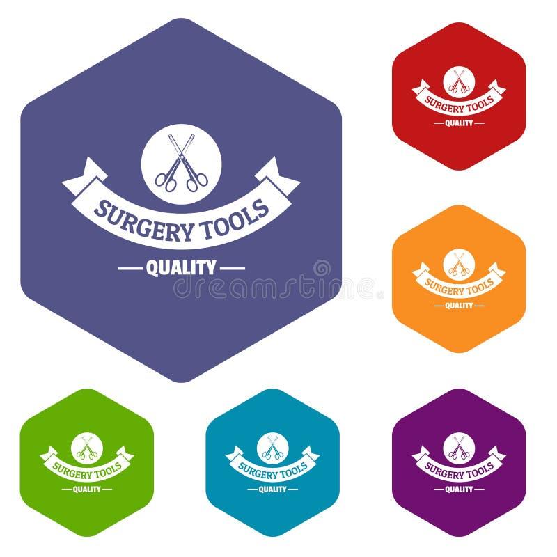 Hexahedron del vector de los iconos del instrumento de la calidad stock de ilustración