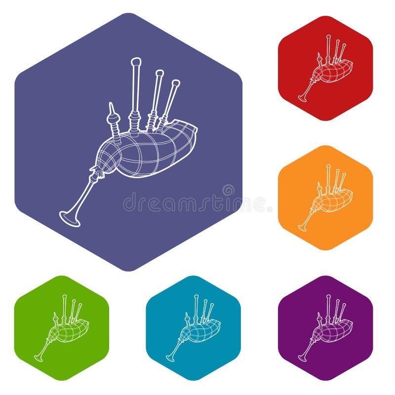Hexahedron del vector de los iconos de la gaita stock de ilustración