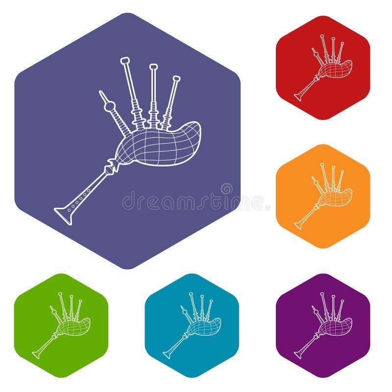 Hexahedron del vector de los iconos de la gaita ilustración del vector