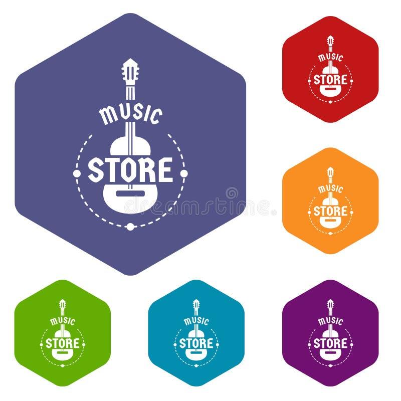 Hexahedron del vector de los iconos de la tienda de la música stock de ilustración