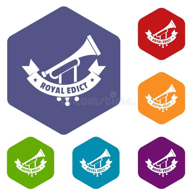 Hexahedron del vector de los iconos de la trompeta stock de ilustración