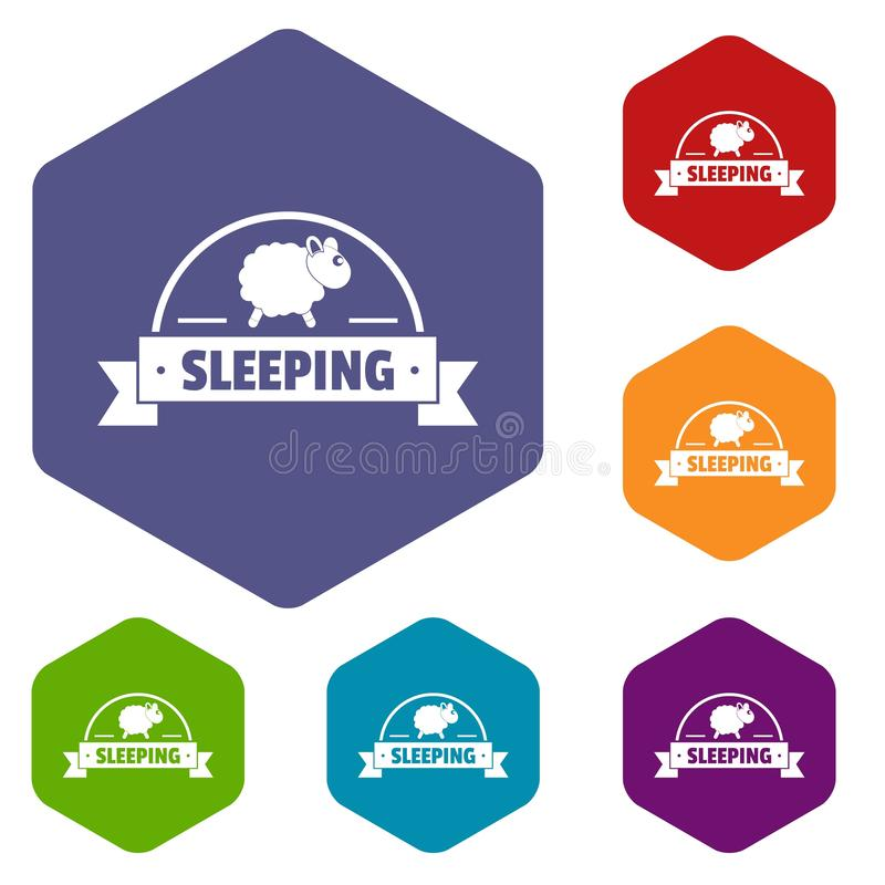 Hexahedron del vector de los iconos de las ovejas el dormir stock de ilustración