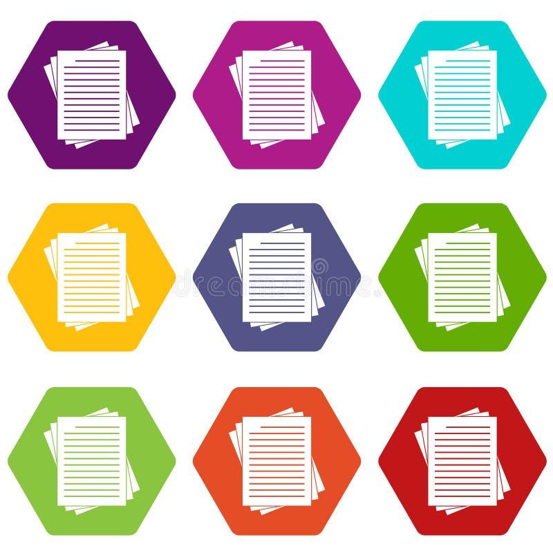 Hexahedron determinado alineado vintage del color del icono de los papeles stock de ilustración