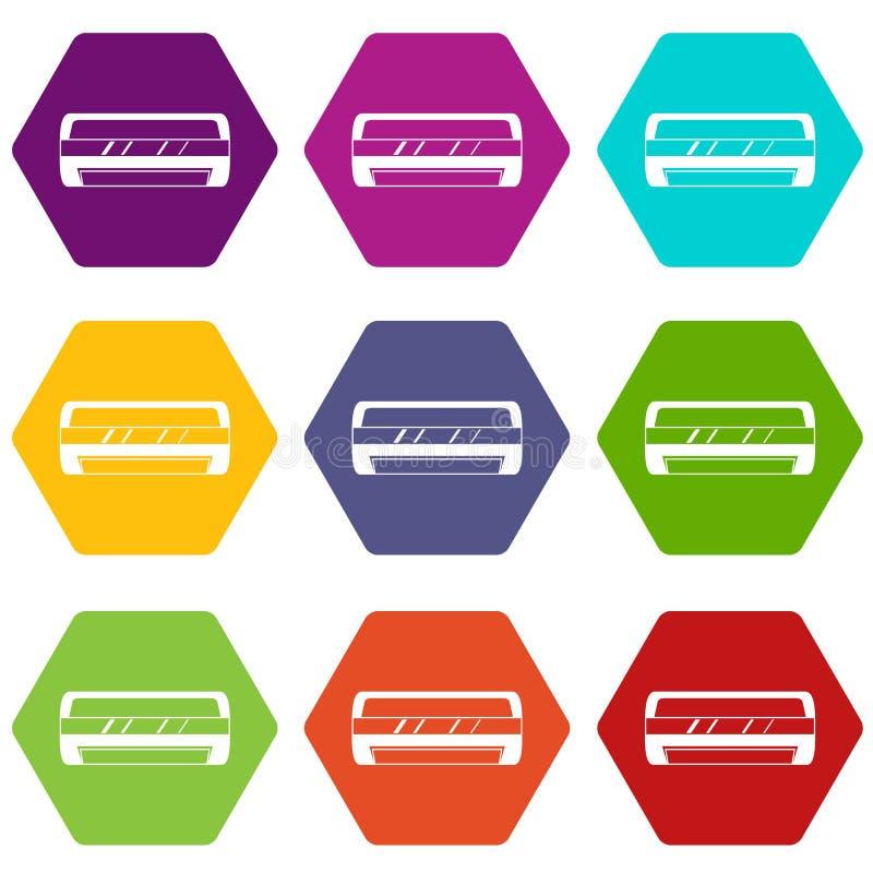 Hexahedron determinado de condicionamiento del color del icono partido del sistema ilustración del vector