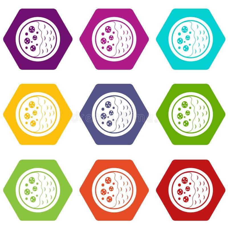 Hexahedron determinado del color del icono asiático de la sopa stock de ilustración