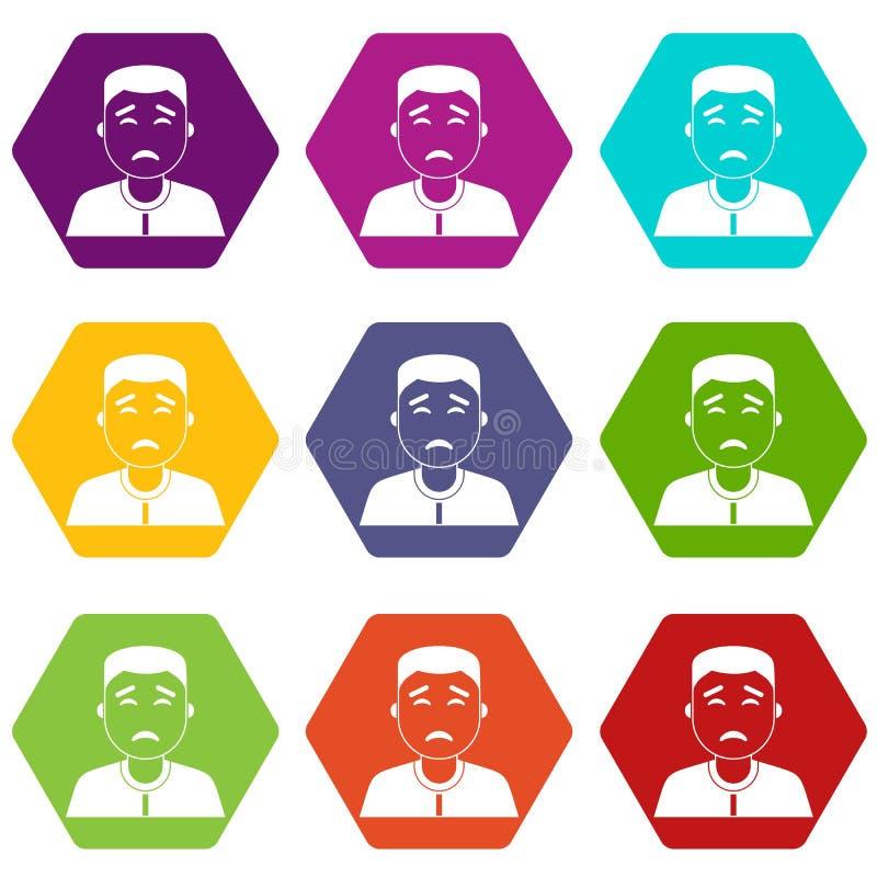 Hexahedron determinado del color del icono asiático del hombre ilustración del vector