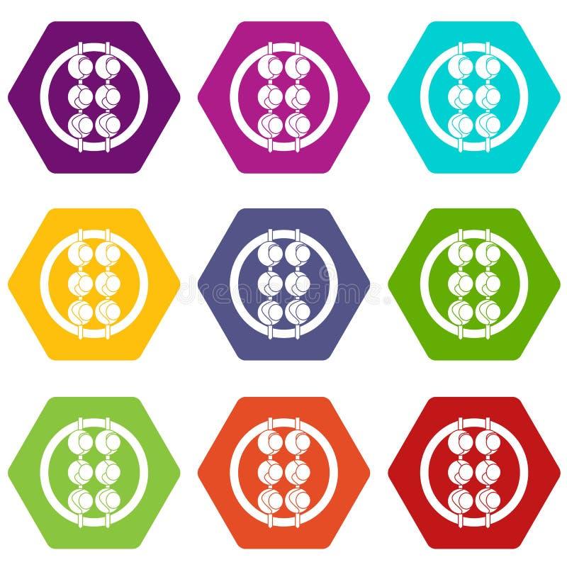 Hexahedron determinado del color del icono asiático del shashlik libre illustration