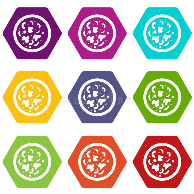 Hexahedron determinado del color del icono caliente asiático del plato stock de ilustración