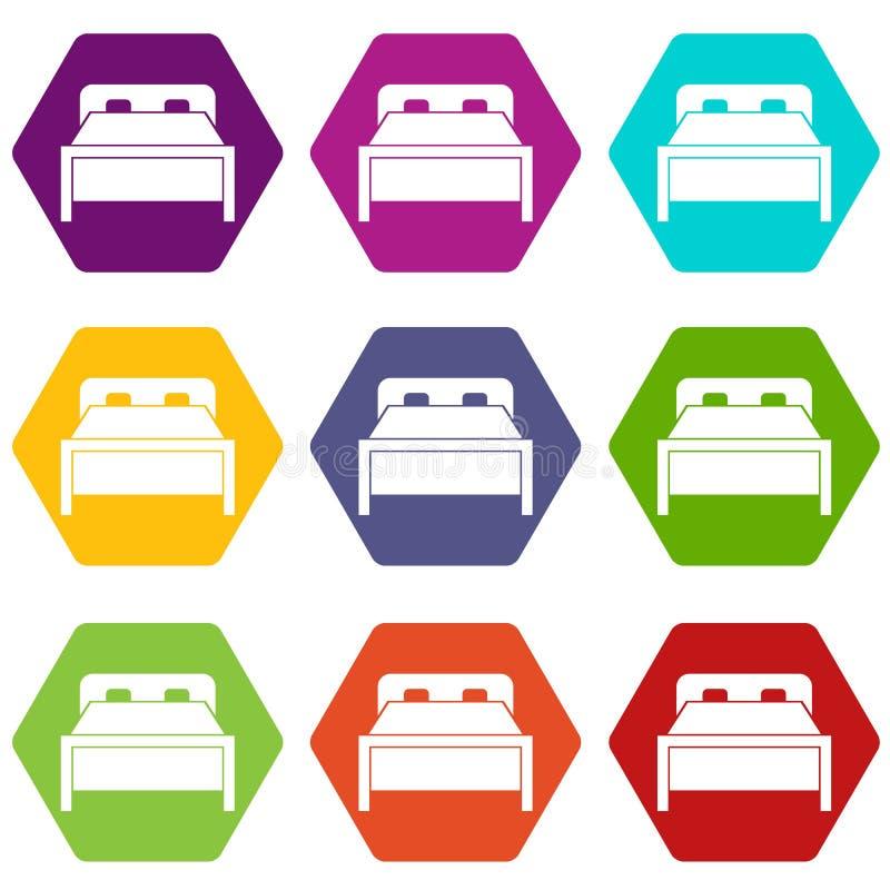 Hexahedron determinado del color del icono de la cama matrimonial stock de ilustración