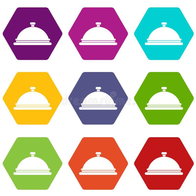 Hexahedron determinado del color del icono de la campana de cristal del restaurante stock de ilustración