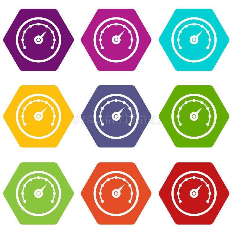 Hexahedron determinado del color del icono del velocímetro ilustración del vector
