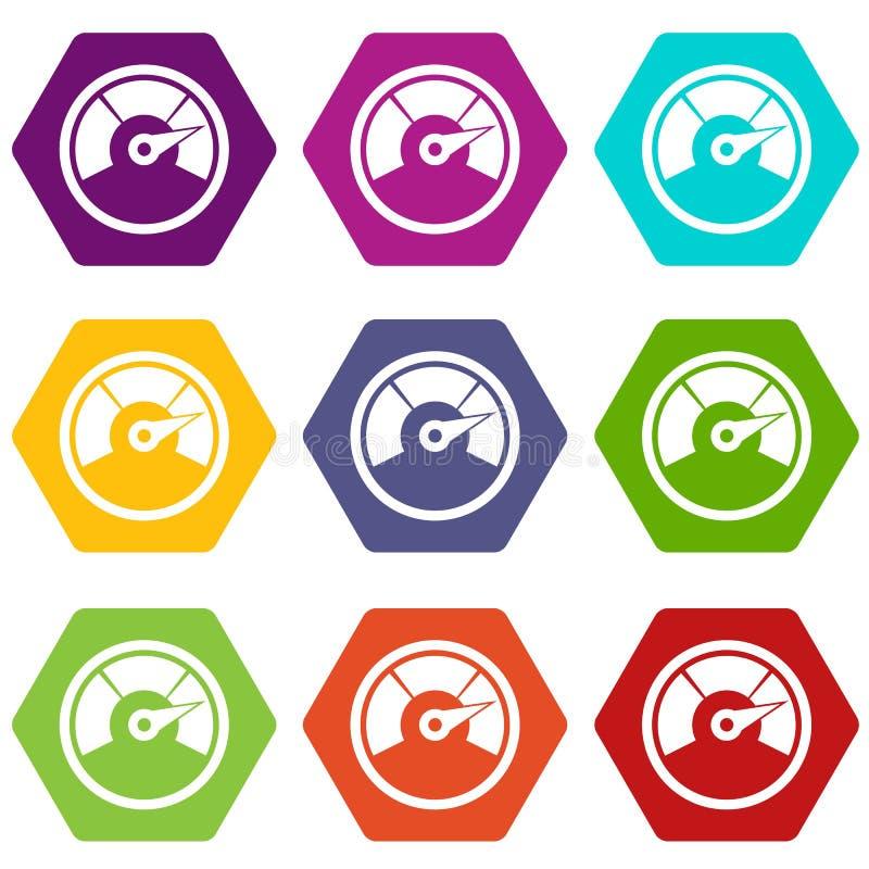 Hexahedron determinado del color del icono del velocímetro stock de ilustración