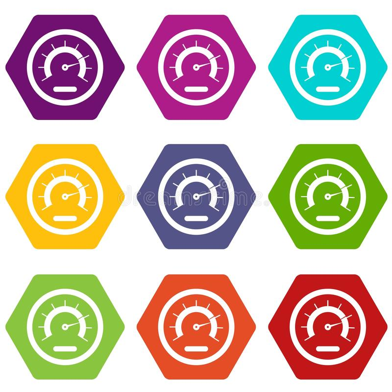 Hexahedron determinado del color del icono del velocímetro libre illustration