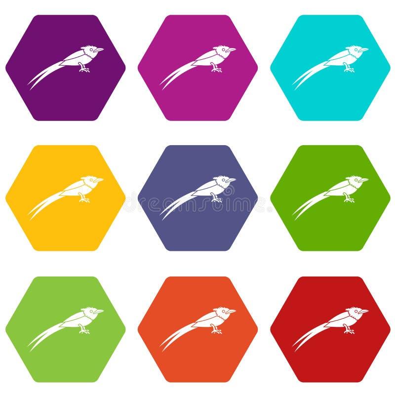 Hexahedron determinado del color del paraíso del icono asiático del cazamoscas stock de ilustración